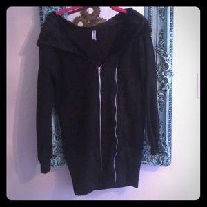 Jackets & Blazers - Extra Long Black Zipup hoodie